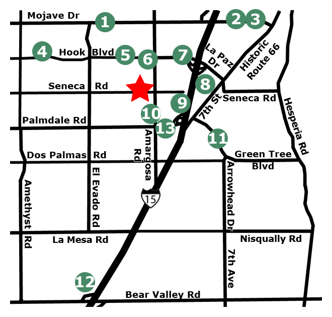Nearby businesses and schools